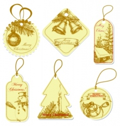 vintage christmas tags vector image