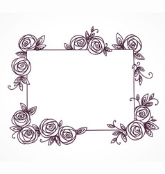vintage cute floral frame hand drawn vector image