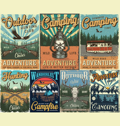 Vintage hunting and camping colorful posters vector