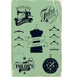Vintage tailor shop icon set vector