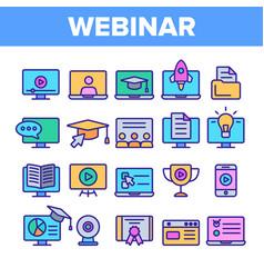 webinar online education linear icons set vector image