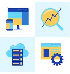 website development icon set in flat style vector image