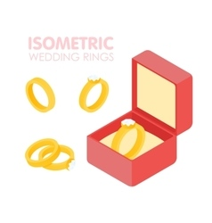 Wedding diamond ring in a box isometric set vector image