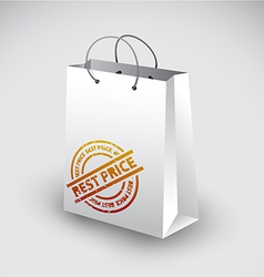 White shopping bag icon vector