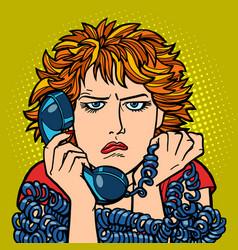 Woman upset sad human emotion telephone vector