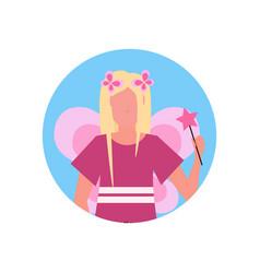 woman wearing magic fairy costume face avatar vector image