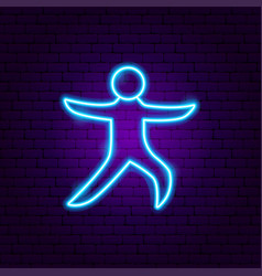 Yoga warior asana neon sign vector