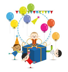 Group of child happy birthday party vector image vector image