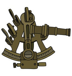 Historic brass sextant vector image vector image