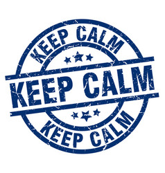 keep calm blue round grunge stamp vector image vector image