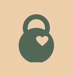 Kettlebell icon with heart vector