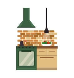 Kitchen interior flat style vector image vector image