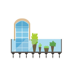 modern glass and steel balcony with plants and vector image vector image
