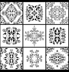 abstract damask patterns set of nine seamless in vector image vector image