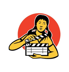 asiian woman girl with movie clapboard vector image