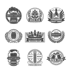 Beer pub vintage isolated label set vector image