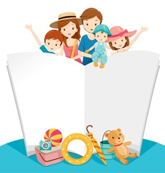 Happy family with summer trip and notebook vector