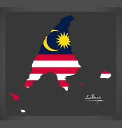 Labuan malaysia map with malaysian national flag vector