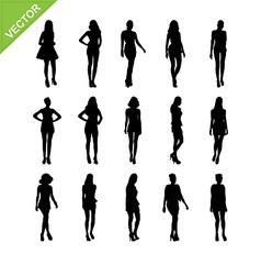Sexy women and model posing silhouettes vector image vector image