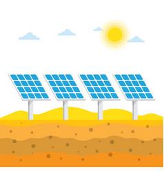 solar panels in the desert vector image