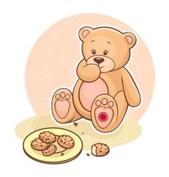 Teddy Beareating cookies vector image