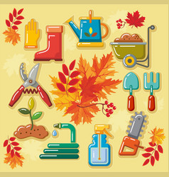autumn agricultural icons with autumn leaves 1 vector image vector image