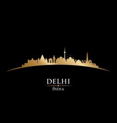 delhi india city skyline silhouette black vector image vector image