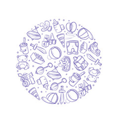doodle baby toys icons in circle design vector image