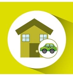 Eco car house icon environment vector