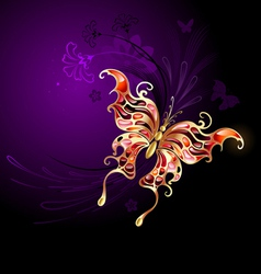 gold butterfly on a purple background vector image vector image