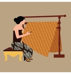 javanese woman girl drawing create batikholding vector image vector image