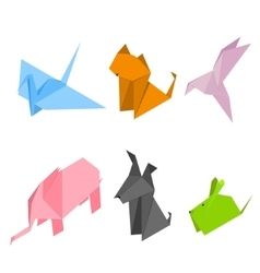 Origami Animals Set Isometric View vector image vector image