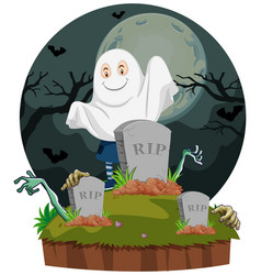 scene with ghost in graveyard vector image