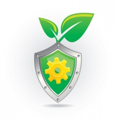 shield with leaf icon vector image vector image