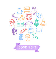 sleeping and insomnia color round design template vector image vector image