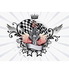Winged Emblem racing engine and flames vector image