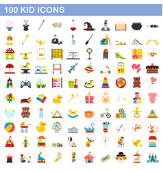 100 kid icons set flat style vector image vector image