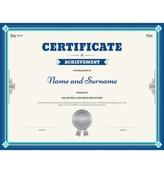 Certificate of achievement template blue vector image