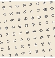 Light Tilted Seamless Pattern with Dark Food Icons vector image vector image