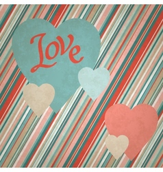 Retro background of vintage design with hearts vector image vector image