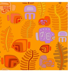 Seamless tribal pattern with aquatic animals vector image vector image