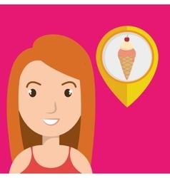 woman pin travel location vector image