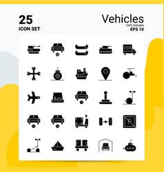 25 vehicles icon set 100 editable eps 10 files vector image