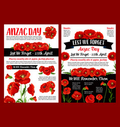anzac day memory banner of poppy flower and ribbon vector image