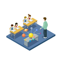 astronomy lesson at school isometric icon vector image