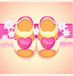 Baby shower girl pink shoes vector