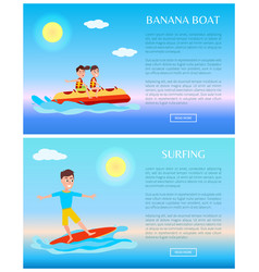 banana boat and surfing summer sport activity web vector image
