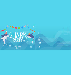 birthday invitation cards shark birthday party vector image