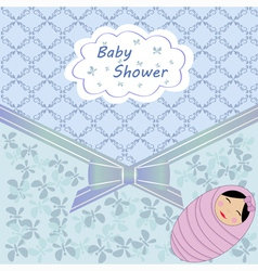 Blue baby shower with girl vector image vector image