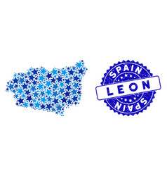 Blue star leon province map mosaic and textured vector